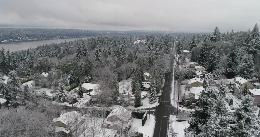Bellevue Newcastle Mercer Island Lake Washington Aerial Above Winter Snow Covered Landscape