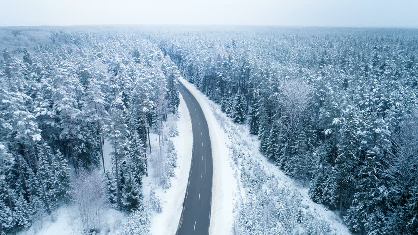 Truck Driving Winter Ice Road, Aerial View    Shutterstock HD Video #1007968699