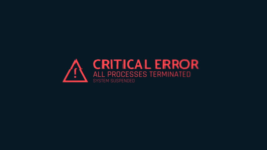 Critical error message flashing on screen, computer malfunction, hacking attack. Computer system crash, error message on screen