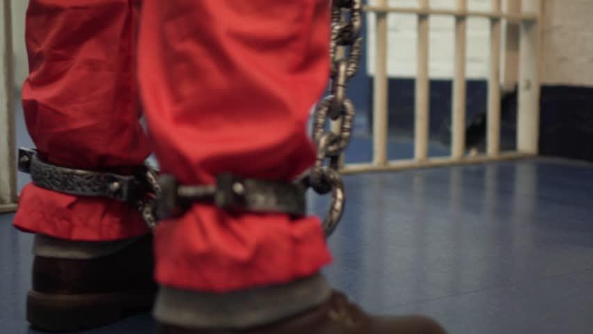 Prisoner In Cell, Cinematic Incarceration In Modern Prison, 4K Inmate Locked Up.