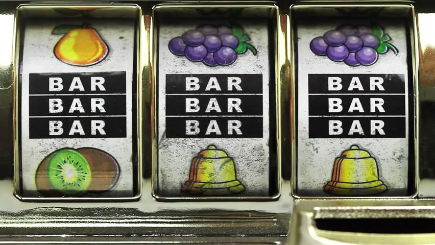 Retro slot machine spinning to 777,and BAR BAR BAR .
