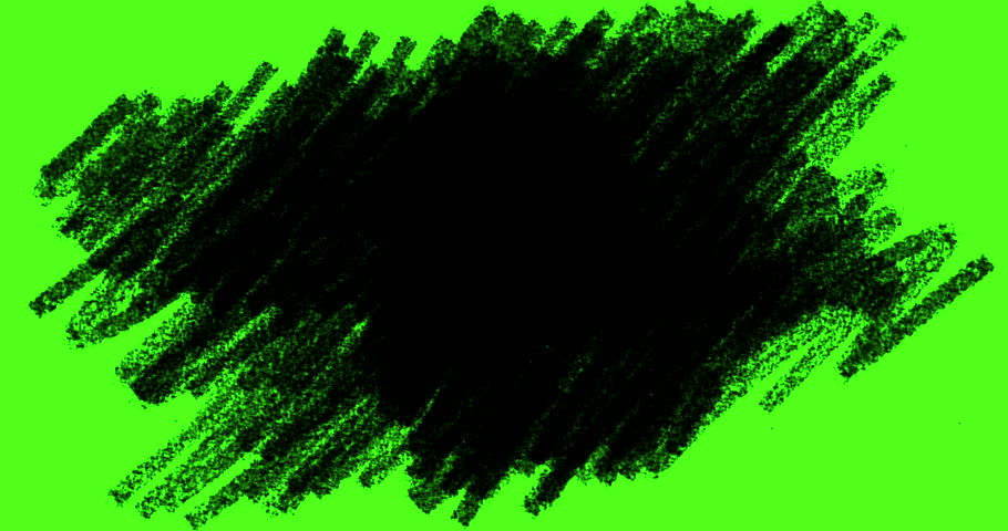 Hand-drawn scribbles transition, doodles and sketch effects with black color pencil on chroma key green screen background, with alpha channel,imagination education child concept