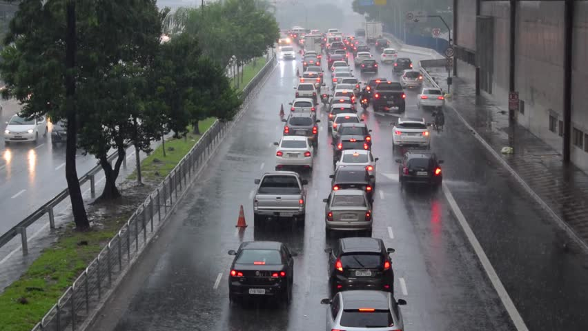 Heavy traffic on rainy day in the city of Sao Paulo, Brazil