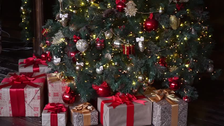 Christmas decoration, Christmas tree with gifts | Shutterstock HD Video #1008037480