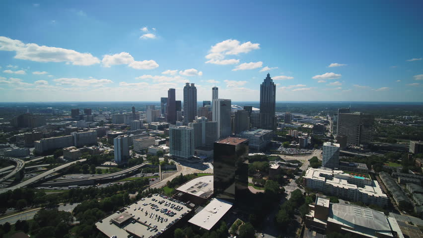 Atlanta Aerial v352 Flying over downtown area sunny cityscape 11/17