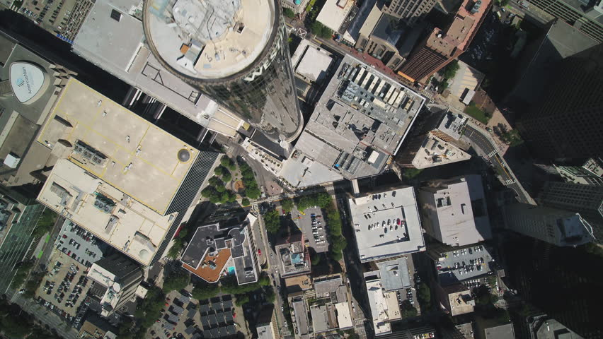 Atlanta Aerial v355 Vertical view flying over downtown area sunny 11/17