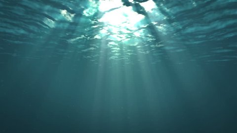 Light through the surface of the water.