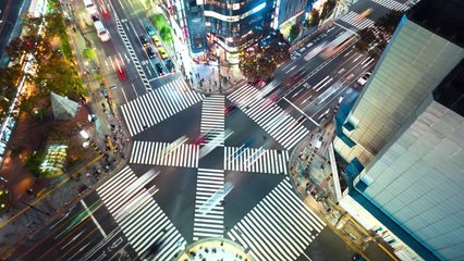 Time-lapse of a busy interestion in Ginza, Tokyo at night