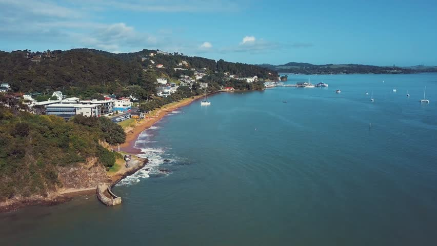 Paihia Beach On Waitangi Day, 4k Aerial Footage Color Graded.  | Shutterstock HD Video #1008053791