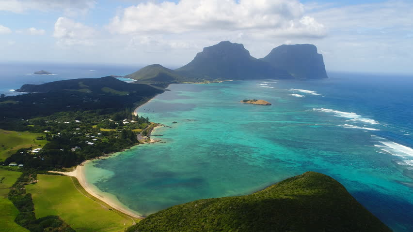 ---- Aerial view of Lord Howe Island (World Heritage-listed paradise), main lagoon and Mount Gower on background - New South Wales - Tasman Sea - Australia from above | Shutterstock HD Video #1008067051
