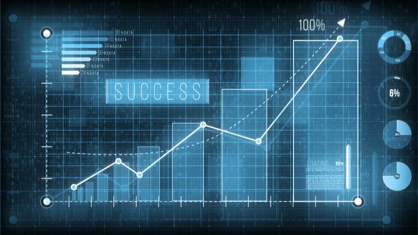 Digital graph, arrow goes up, moving charts, bars, data, 4K  | Shutterstock HD Video #1008077347