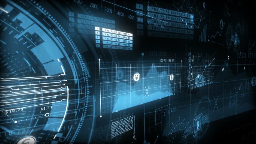 HUD finance screen with digital graphs, bitcoin sign, charts, computer data. Blue, 4K | Shutterstock HD Video #1008077353