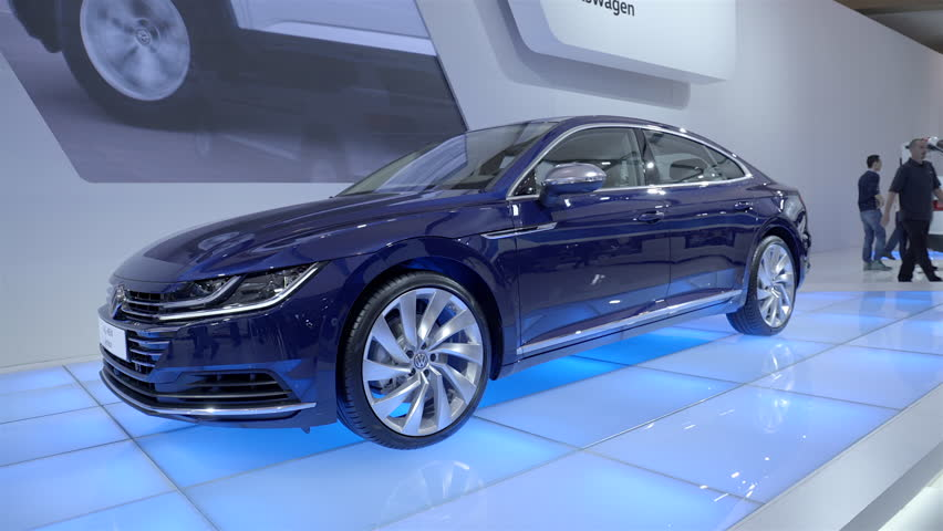 TORONTO, CANADA - FEBRUARY 2018: 2019 Volkswagen Arteon. 2018 CANADIAN  INTERNATIONAL AUTOSHOW.   Shutterstock HD Video #1008091003