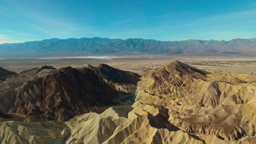 Stunning aerial view over Zabriskie Point and the expansive desert below