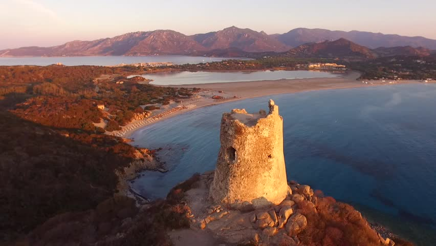 Villasimius Tower during sunrise