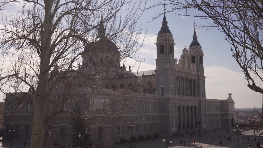 MADRID, SPAIN 26 FEBRUARY 2018: Cathedral of Saint Mary the Royal of La Almudena, a major tourist landmark in central Madrid, Roman Catholic Church, Spain.    Shutterstock HD Video #1008118297