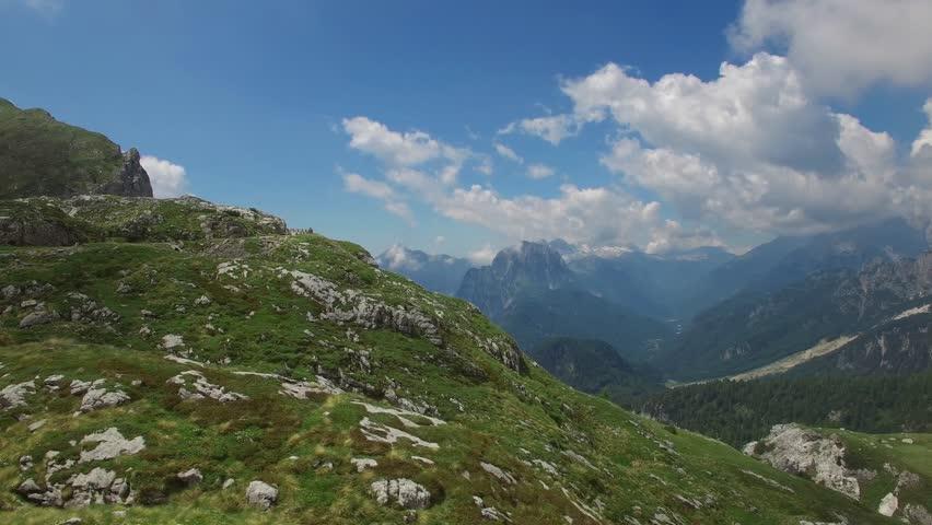 AERIAL VIEW: flight around Mangart Pass.Slovenia. camera moving left to right #1008135547