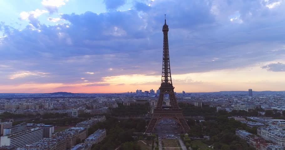 Eiffel tower aerial Paris sunset | Shutterstock HD Video #1008136525