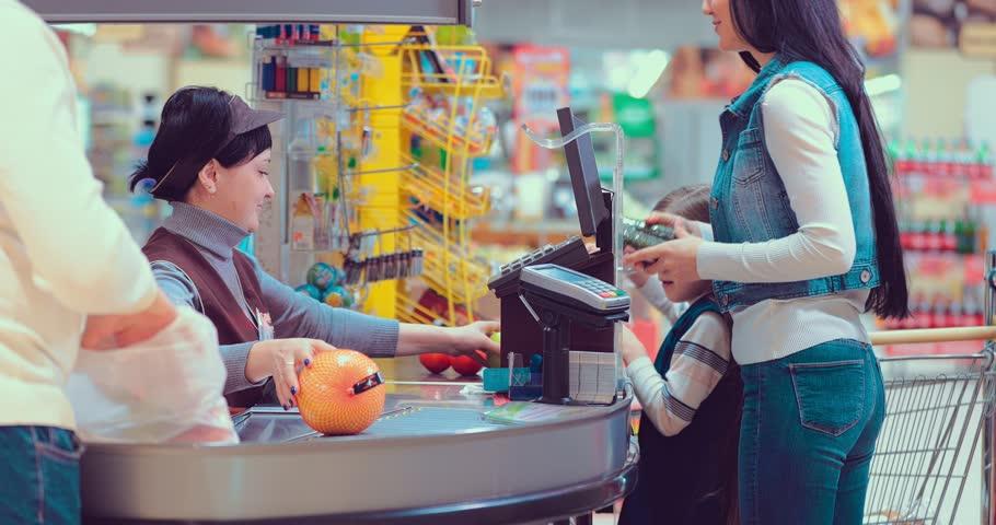 Foods on conveyor belt at the supermarket #1008145720