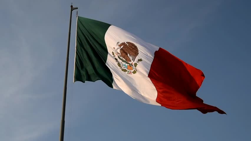 Mexican flag, flag agitated in the wind,closeup,Mexican coat of arms in the foreground
