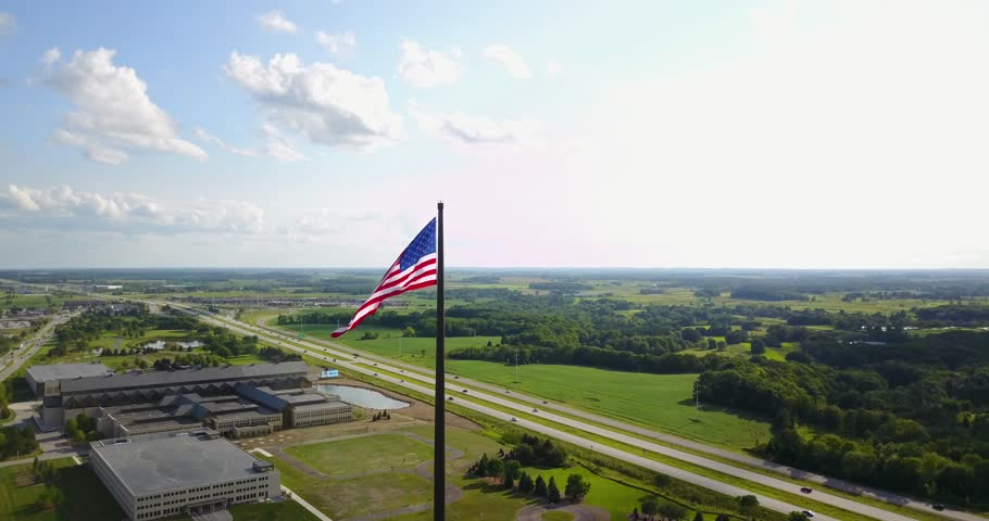Various aerial shots of the worlds tallest and largest free flying American Flag. Part 2 of 2
