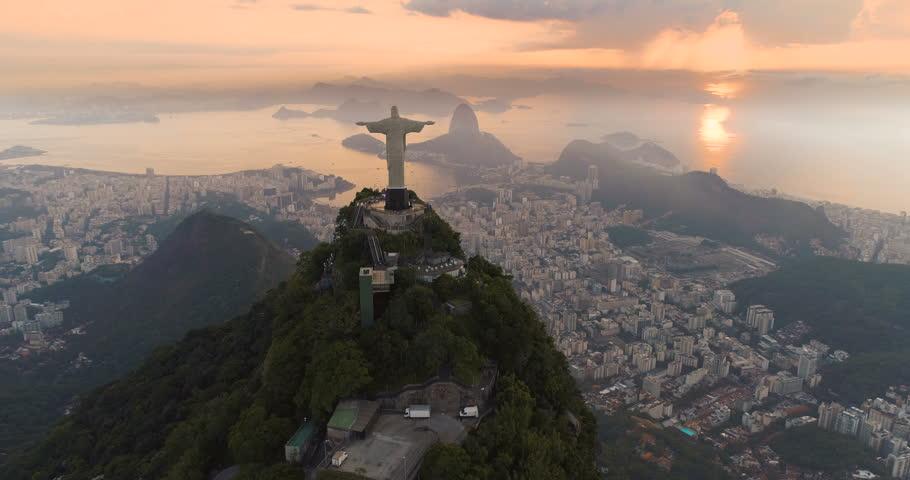 RIO DE JANEIRO, BRAZIL - JANUARY 2018: Aerial view of sunrise above Sugarloaf Mountain and Botafogo Bay, Rio de Janeiro, Brazil