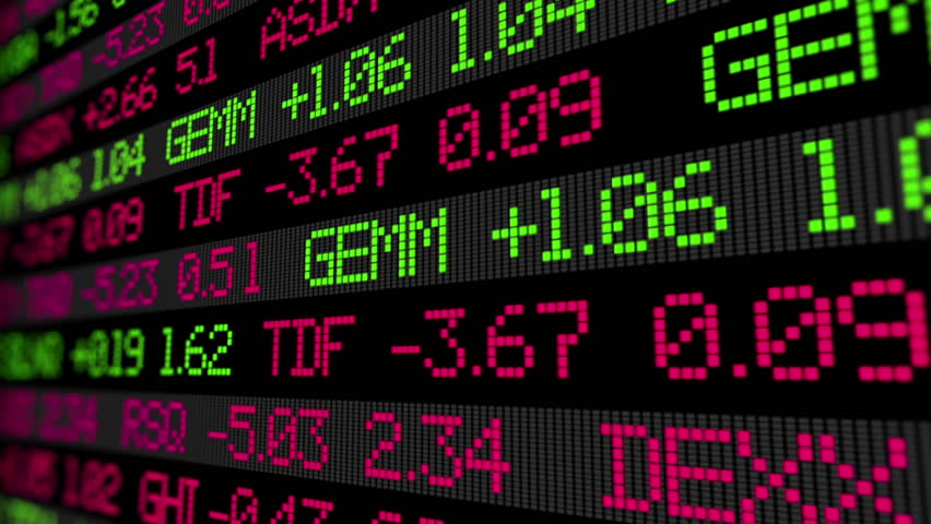 Stock market ticker digital data. Not real name of companies