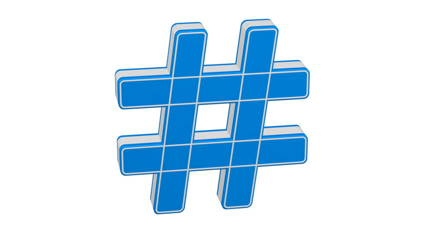 Hashtag sign turn around. Loopable. Luma matte. 3D rendering.
