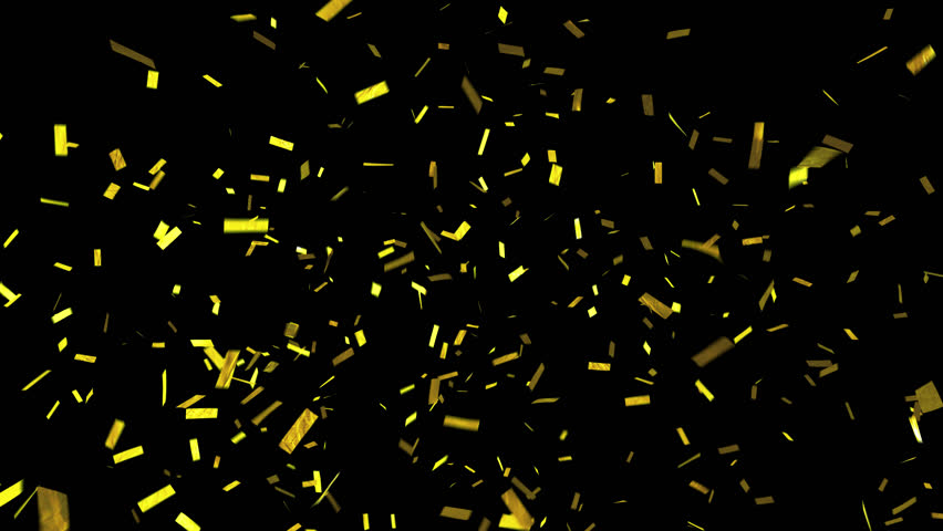 Confetti with alpha channel. Transparency included so can be put over the top of backgrounds. Shiny gold confetti falls and clears frame. See portfolio for more!