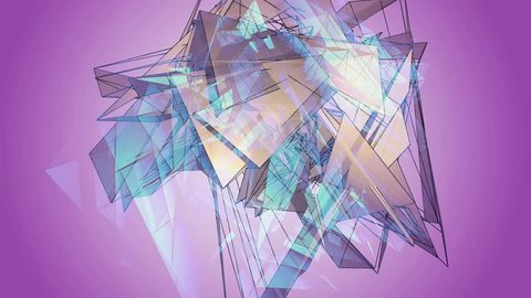 Beautiful Abstract Violet Polygonal Surface Moving In 3d Animation. Bright Triangles Motion. Three Variations.
