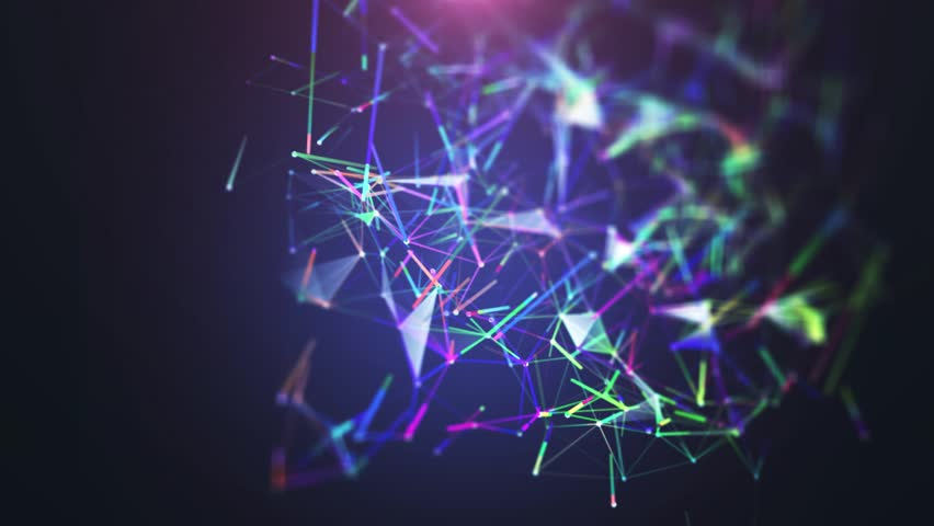 Plexus of abstract blue geometrical lines with moving triangles and dots on a black.background. Slow motion. Loop animations multicolored. | Shutterstock HD Video #1008201835
