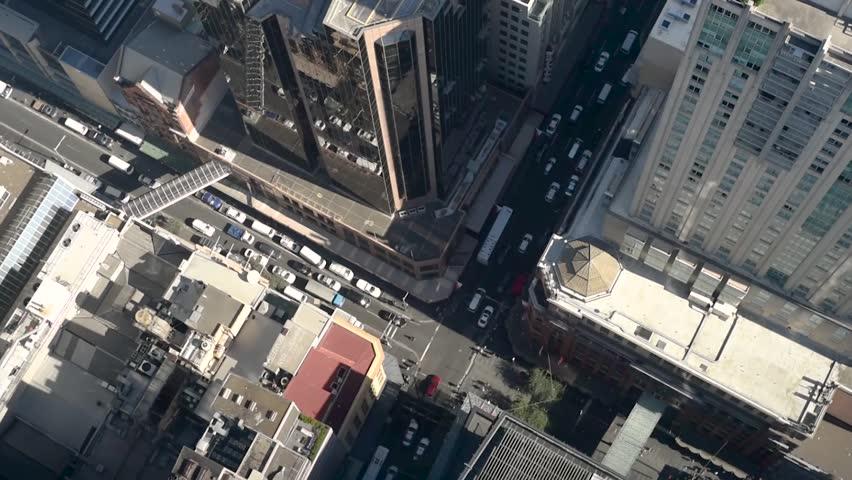 Aerial Sydney Street scene showing traffic on roads below, shot from Sydney Tower Eye | Shutterstock HD Video #1008207190