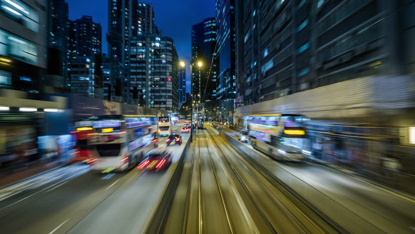 Hong Kong, China - June 14: Time lapse view of the streets of Hong Kong at nighttime. Hong Kong is one of Asia's most important business and financial hubs. | Shutterstock HD Video #1008215896