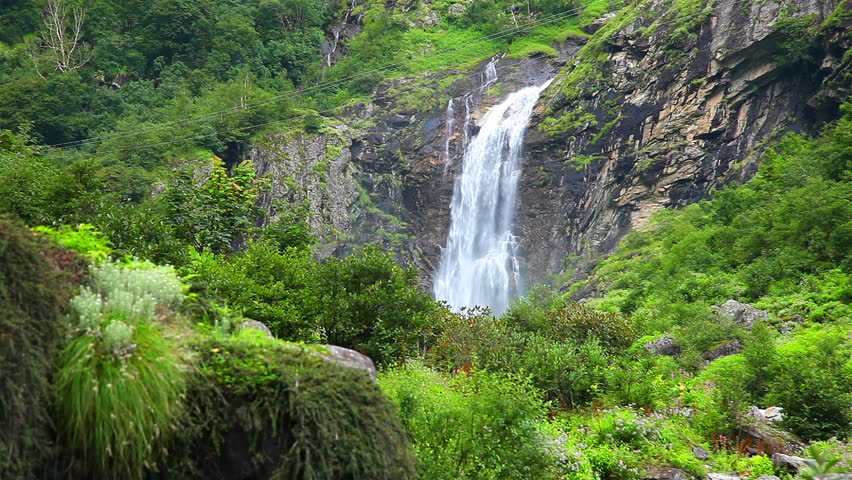 View of a beautiful high waterfalls in Ghangaria, Uttrakhand, India | Shutterstock HD Video #1008216313