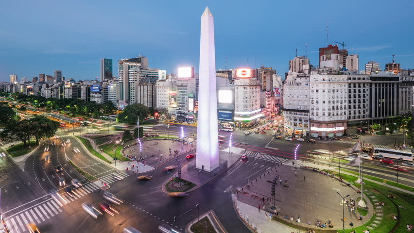 Buenos Aires, Argentina - January 20: Zoom in time lapse view of the Obelisk of Buenos Aires and 9 de Julio Ave, the widest avenue in the world,  in Buenos Aires, Argentina.