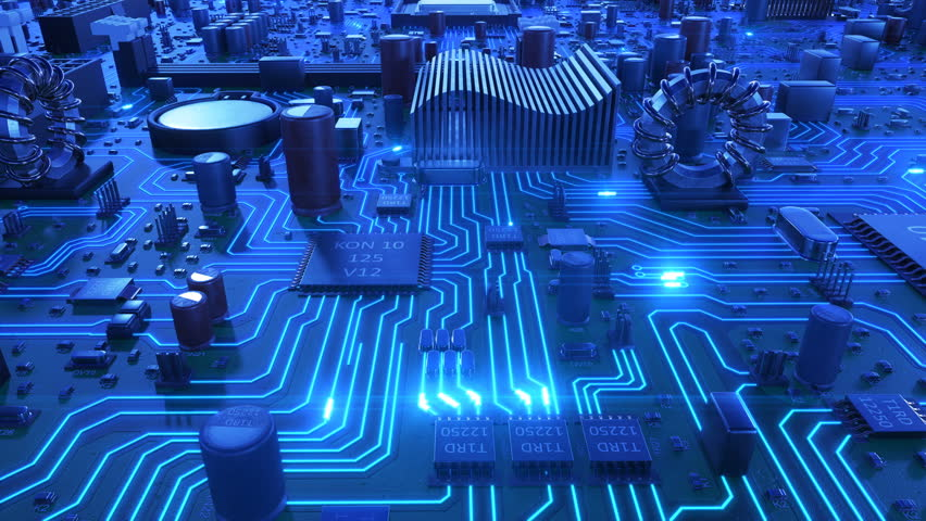 Flight Over the Motherboard and Processors with Blue Signals. Looped 3d Animation of Circuit Board and CPU with Blue Flares. Technology and Digital Concept. 4k Ultra HD 3840x2160.  Royalty-Free Stock Footage #1008265171
