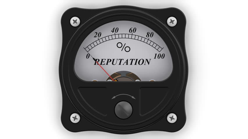 Reputation indicator in action. The analog indicator is showing the level of REPUTATION in percentages. Footage video | Shutterstock HD Video #1008273853