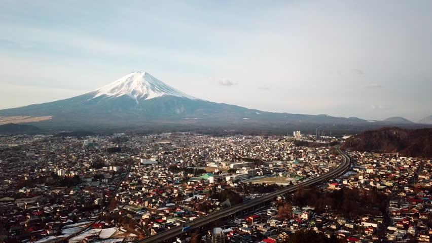 Aerial view of Fuji Mountain,Kawaguchiko,Fujiyoshida,Japan | Shutterstock HD Video #1008300580