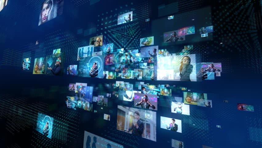 A lot of pictures floating in cyberspace. Social media concept. Streaming video. Video hosting service. | Shutterstock HD Video #1008318325