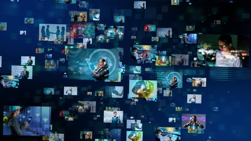 A lot of pictures floating in cyberspace. Social media concept. Streaming video. Video hosting service. | Shutterstock HD Video #1008318328