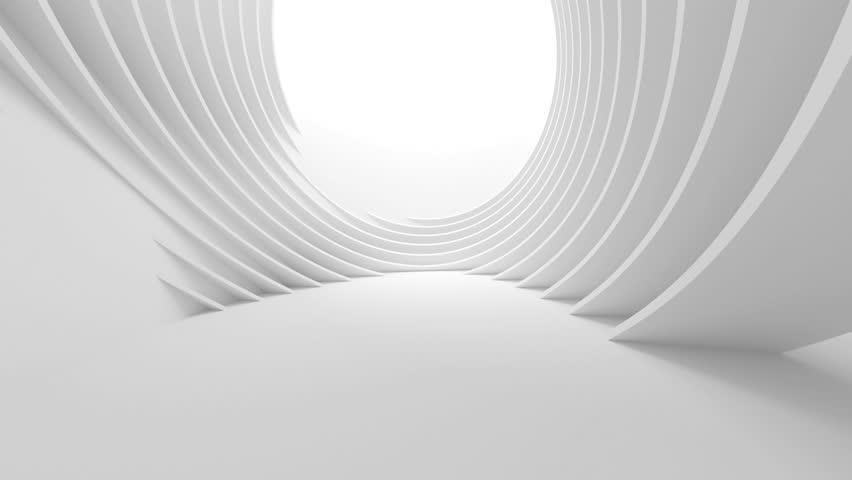3d Abstract Tunnel Background. Minimalistic Interior Design Animation. Futuristic Architecture Concept
