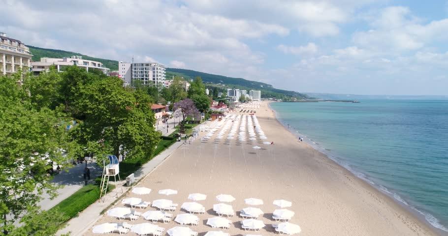 4k aerial video of the beach in Golden Sands, Zlatni Piasaci. Popular summer resort near Varna, Bulgaria    Shutterstock HD Video #1008335392