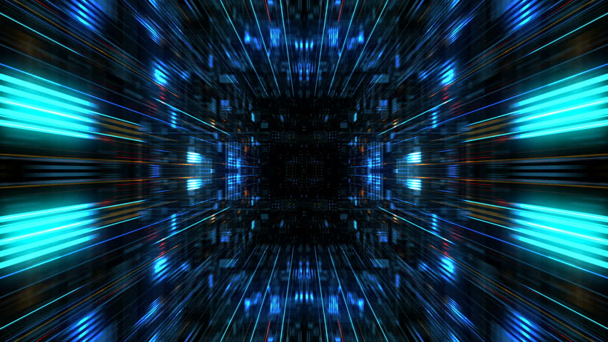 Abstract futuristic sci fi warp tunnel with particle grid. Motion graphic for  data center, server, internet, speed. Futuristic big data visualization, hi tech background. 3D rendering. Royalty-Free Stock Footage #1008335443