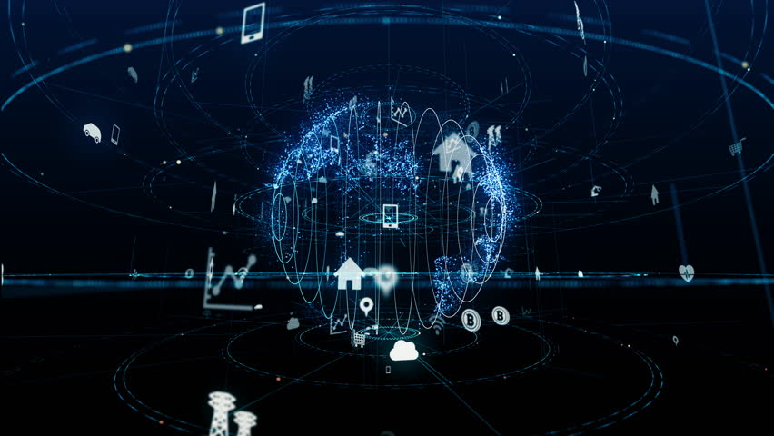 Internet of Things concept. Various icons floating in cyberspace.   Shutterstock HD Video #1008353203