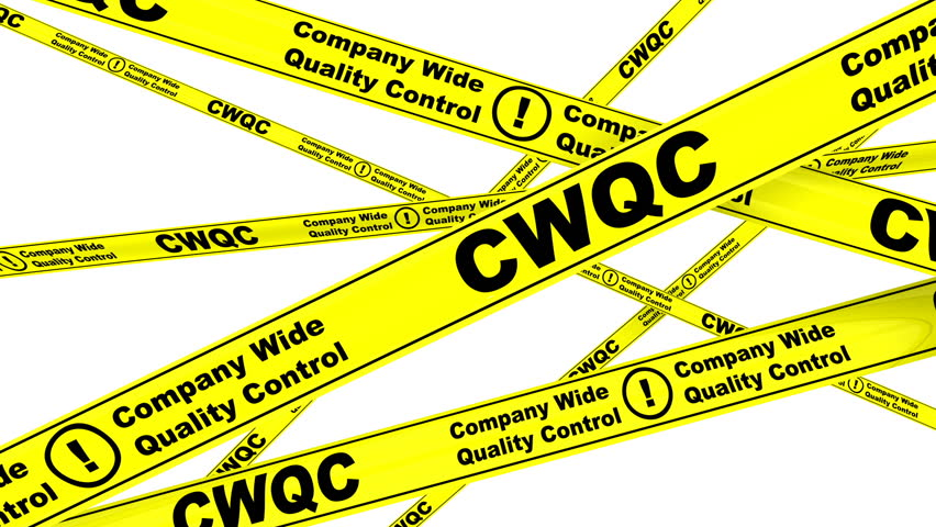 CWQC. Company Wide Quality Control.  Yellow warning tapes with inscription CWQC. Company Wide Quality Control. Footage video | Shutterstock HD Video #1008354595
