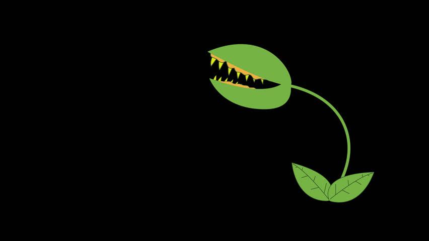 Cartoon Venus Fly Trap Biting in Alpha Channel