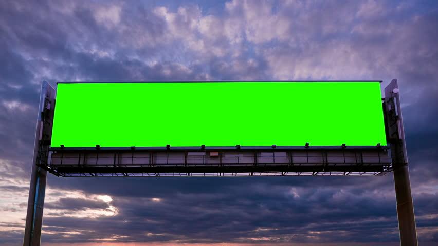 Billboard green screen on sky background | Shutterstock HD Video #1008396703