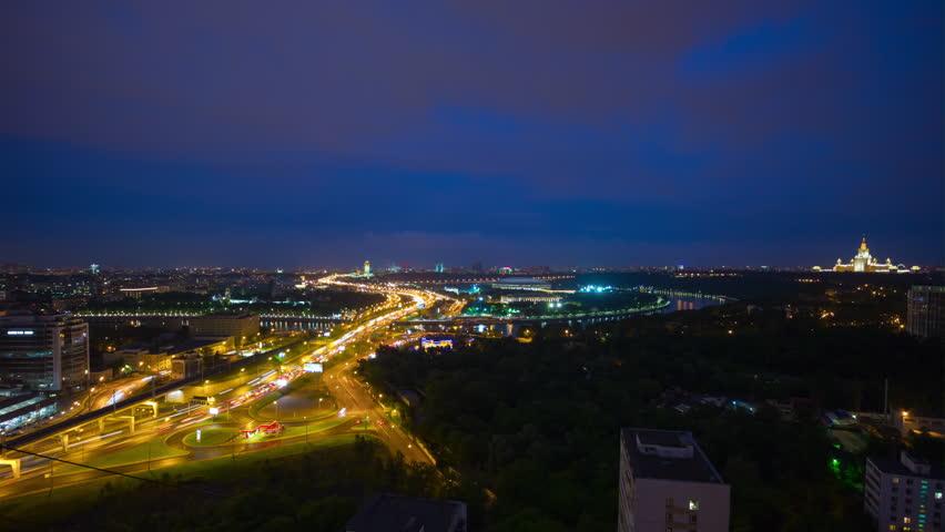 MOSCOW, RUSSIA - AUGUST 18 2017:  night illuminated moscow traffic bridge luzhniki stadium panorama 4k timelapse circa august 18 2017 moscow, russia. | Shutterstock HD Video #1008404263
