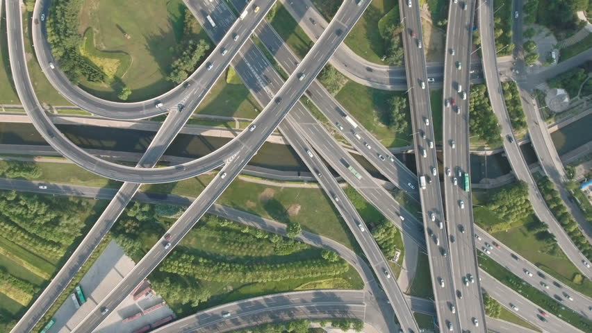 Panoramic aerial footage of a huge network of flyovers, junctions, intersections, roads, bridges etc in Zhengzhou, urban China  | Shutterstock HD Video #1008405664