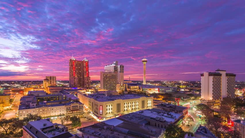 San Antonio, Texas, USA Skyline at dusk.